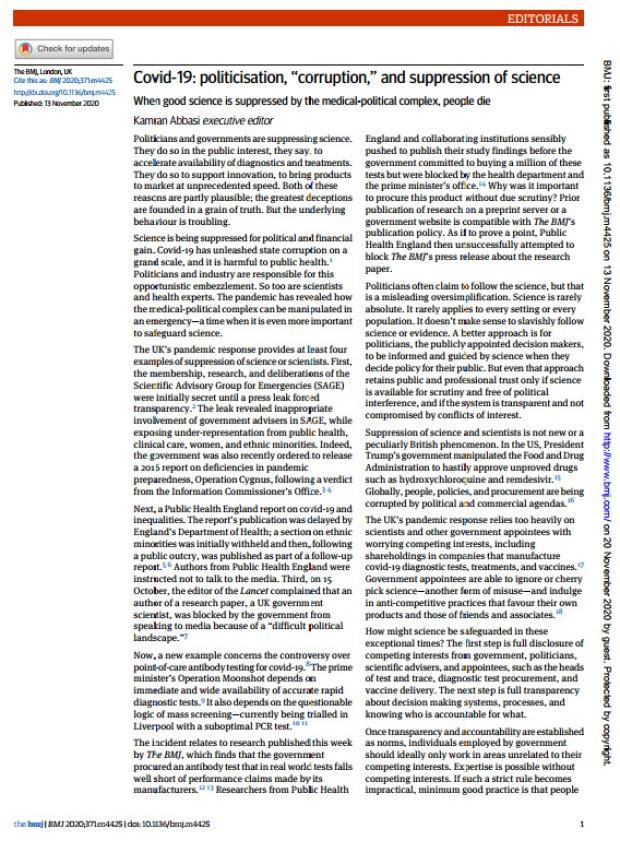 BMJ: Editorial sobre la politización y la supresión de la ciencia en el contexto de la Covid 19